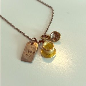 b.u. - Wake Up Coffee necklace - gold/silver
